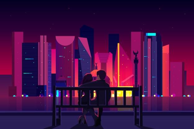 Dobiera się obsiadanie na ławce przy nabrzeże miasta, mężczyzna i kobieta cieszy się miasto nocy widok Darmowych Wektorów