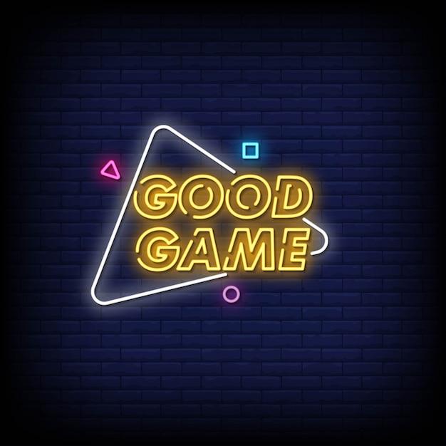 Dobra Gra Neonowe Znaki W Stylu Tekstu Premium Wektorów