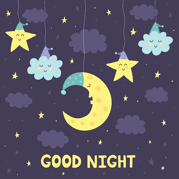 Dobranoc karta z uroczym śpiącym księżycem i gwiazdami Premium Wektorów