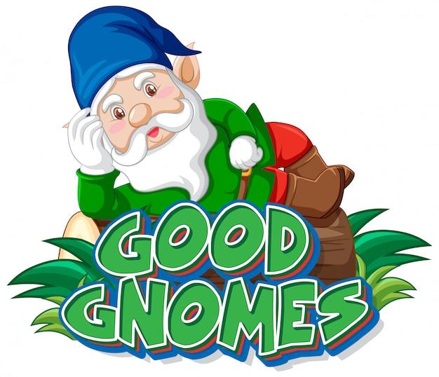 Dobre Gnomy Logo Na Białym Tle Darmowych Wektorów