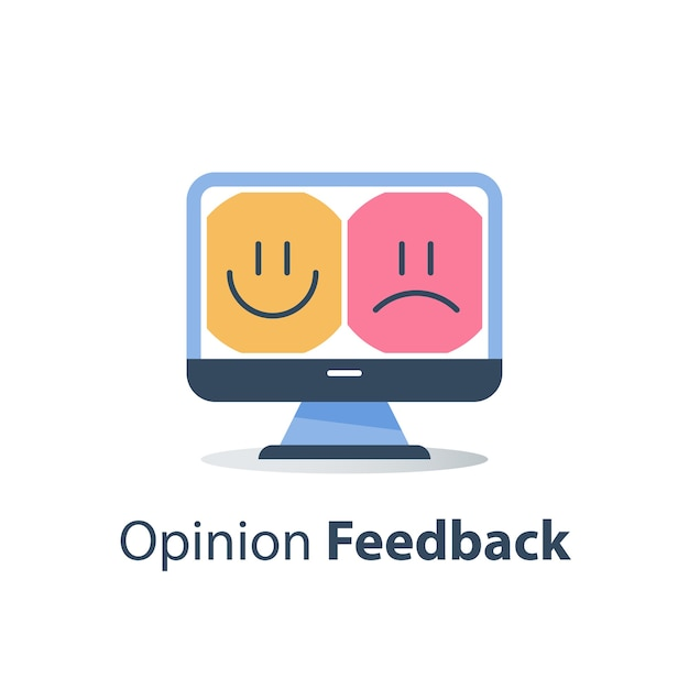Dobre Lub Złe Emocje Klienta Na Monitorze Premium Wektorów