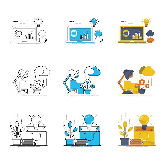 Dobry pomysł wektor zestaw nowoczesnych ikon Premium Wektorów