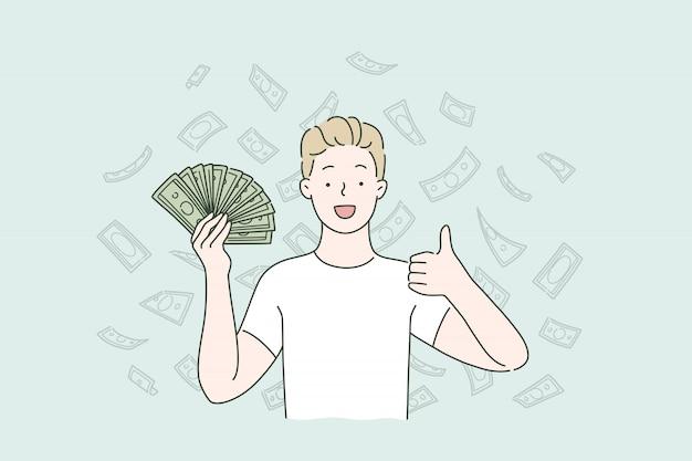 Dochód Pasywny, Spadające Pieniądze, Zwrot Gotówki. Premium Wektorów