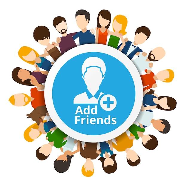 Dodaj Znajomych Do Sieci Społecznościowej. Internet Społeczności, Ilustracja Przyjaźni Internetowej Darmowych Wektorów