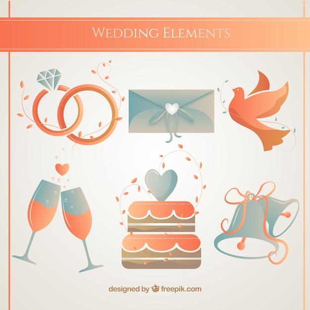 Dodatki ślubne w pomarańczowych kolorach Darmowych Wektorów