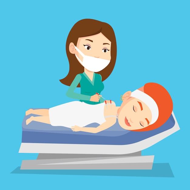 Doktor Akupunktury Dokonywanie Terapii Akupunktury. Premium Wektorów