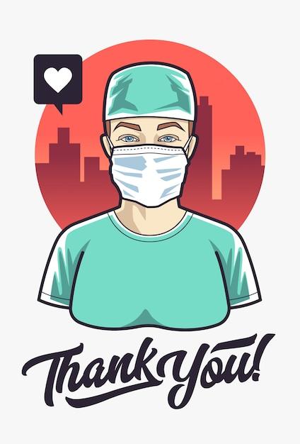 Doktor Kobieta Dziękuję Premium Wektorów