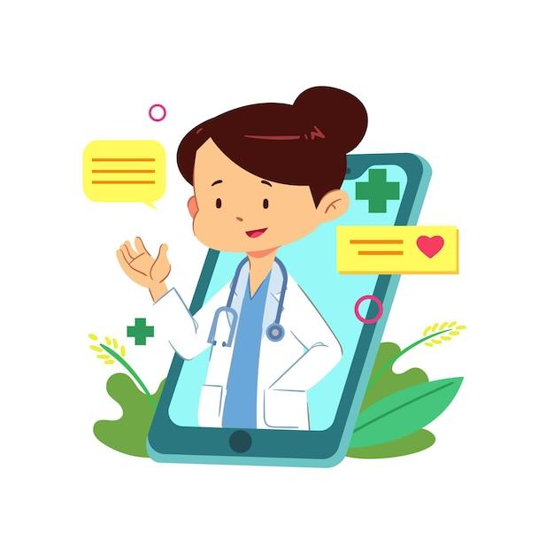 Doktor Online Gotowy Do Rozwiązania Problemów Medycznych Darmowych Wektorów