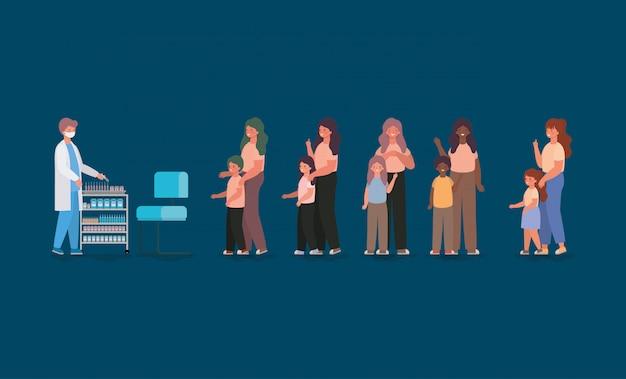 Doktor Płci Męskiej Szczepienia Dzieci I Matek Projektowania Opieki Zdrowotnej I Nagłego Wypadku Motywu Ilustracji Premium Wektorów
