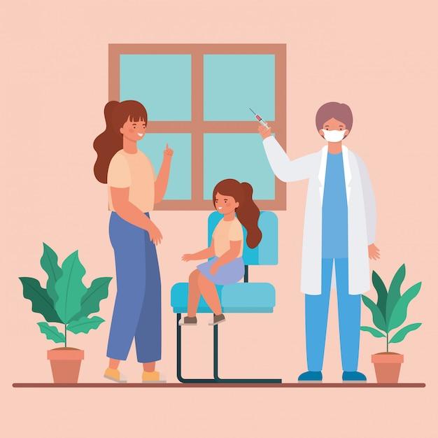 Doktor Płci Męskiej Szczepienia Dziewczyna I Matka Projektu Opieki Zdrowotnej I Nagłego Wypadku Ilustracji Tematu Premium Wektorów