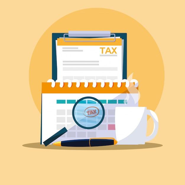 Dokumenty i elementy zestawu biurowego Premium Wektorów