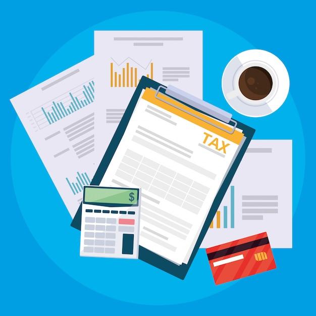 Dokumenty z widoku lotniczego i elementy zestawu biurowego Premium Wektorów