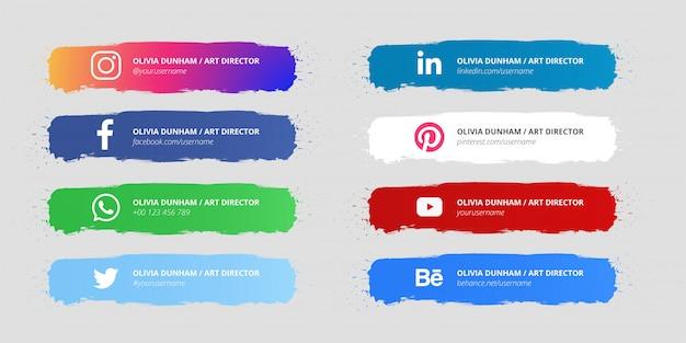 Dolna trzecia kolekcja splash w mediach społecznościowych Darmowych Wektorów
