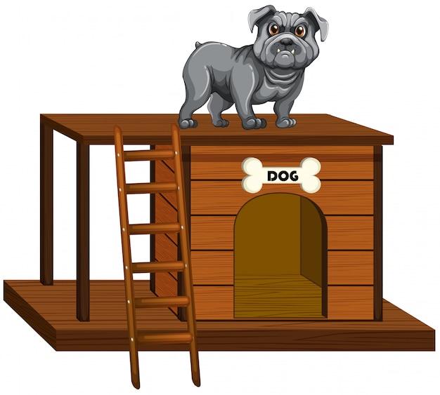 Dom Dla Psa Z ładny Pies Stojący Darmowych Wektorów