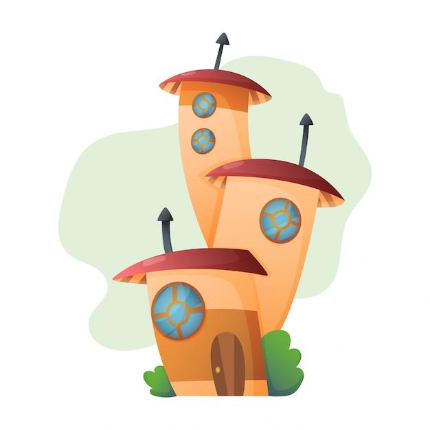 Dom Fantasy Bajki Domek Na Drzewie I Obudowa Wioska Ilustracja Zestaw Dzieci Bajkowy Domek Na Białym Tle. Premium Wektorów