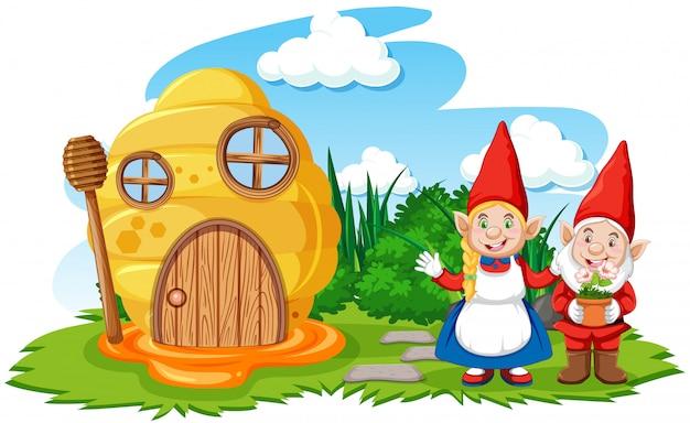 Dom Gnomy I Plaster Miodu W Stylu Cartoon Ogród Na Tle Nieba Darmowych Wektorów