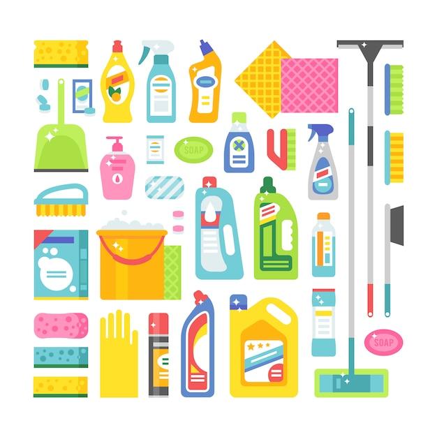 Dom Higieny I Produktów Do Czyszczenia Płaskich Wektor Zestaw Ikon Premium Wektorów