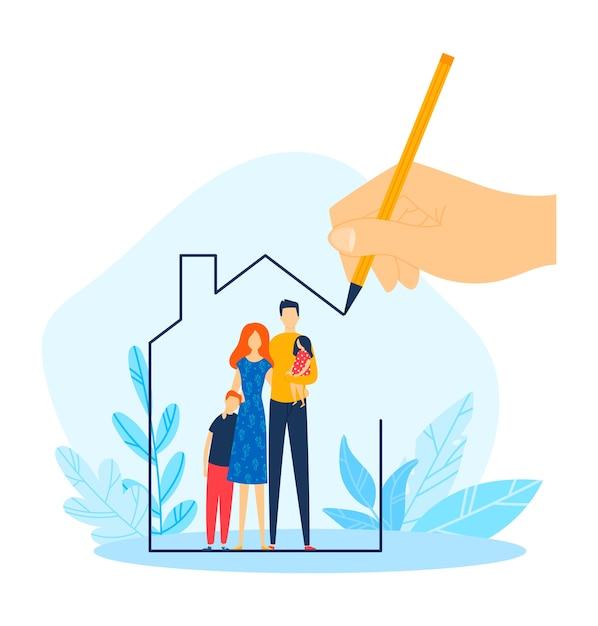 Dom Hipoteczny Dla Rodziny, Własność Domu Rysować Ręcznie, Ilustracja. Kredyt Mieszkaniowy, Inwestycja W Nieruchomości Dla Ojca Matki Premium Wektorów
