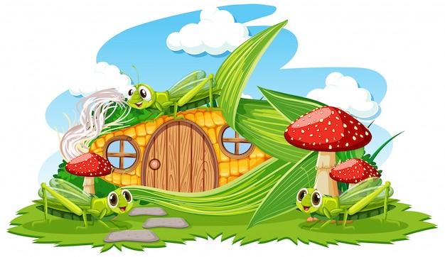 Dom Kukurydziany Z Trzy Stylu Kreskówka Grasshoper Na Białym Tle Darmowych Wektorów