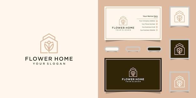 Dom Kwiat Logo I Wizytówkę Premium Wektorów