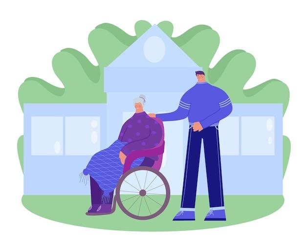 Dom Opieki. Wolontariusz Pomaga Starszej Niepełnosprawnej Kobiecie. Premium Wektorów