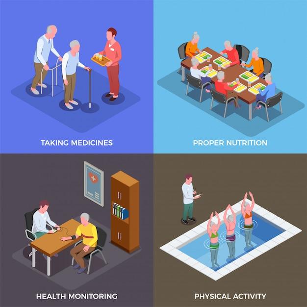 Dom Opieki Zestaw Koncepcji Przyjmowania Leków Właściwe Odżywianie Monitorowanie Zdrowia Aktywność Fizyczna Kwadratowe Kompozycje Izometryczny Darmowych Wektorów
