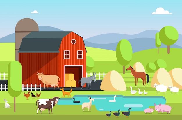 Dom ranczo, budynek gospodarczy i zwierzęta rolnicze w krajobrazie wiejskim. eco gospodarstwa wektor płaskie tło Premium Wektorów