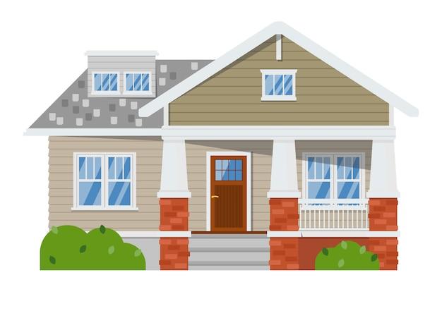 Dom rodzinny odosobniony biel Premium Wektorów