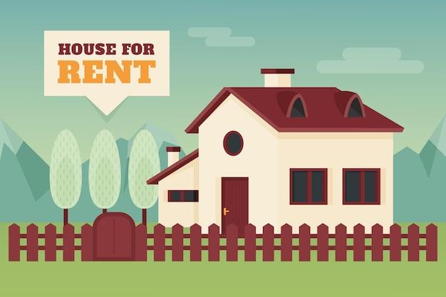 Dom Wiejski Z Koncepcją Sprzedaży I Wynajmu Ogrodzenia Darmowych Wektorów
