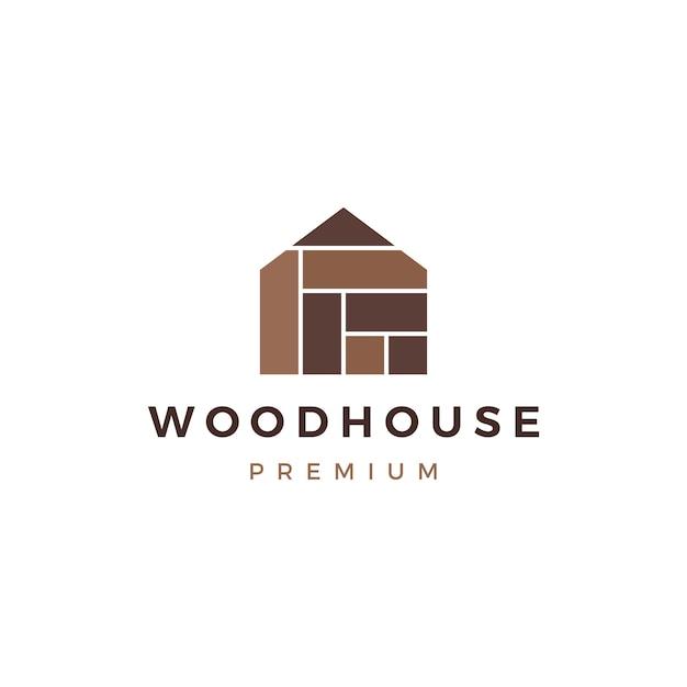 Dom z drewna, panel z drewna, elewacja, panele ścienne, wpc winylowe logo hpl ikona Premium Wektorów