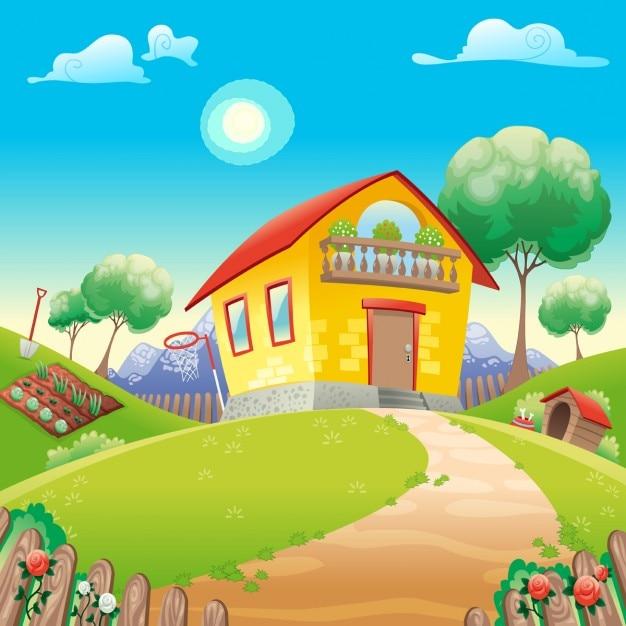 Dom z ogrodem int wektora animowanych ilustracji wsi Darmowych Wektorów