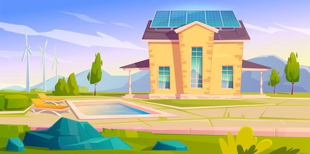 Dom Z Panelami Słonecznymi I Wiatrakami. Eko Dom Darmowych Wektorów
