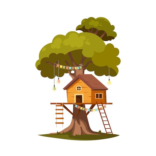Domek Na Drzewie Do Zabawy I Imprez. Premium Wektorów