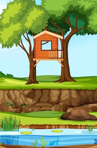 Domek Na Drzewie W Przyrodzie Premium Wektorów
