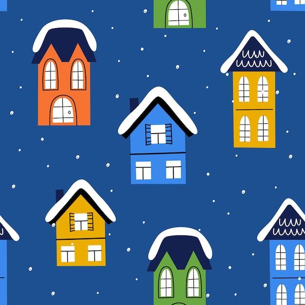 Domki Bożonarodzeniowe W Stylu Ręcznie Rysowanym. Minimalizm, Proste Bezszwowe Tło. Premium Wektorów