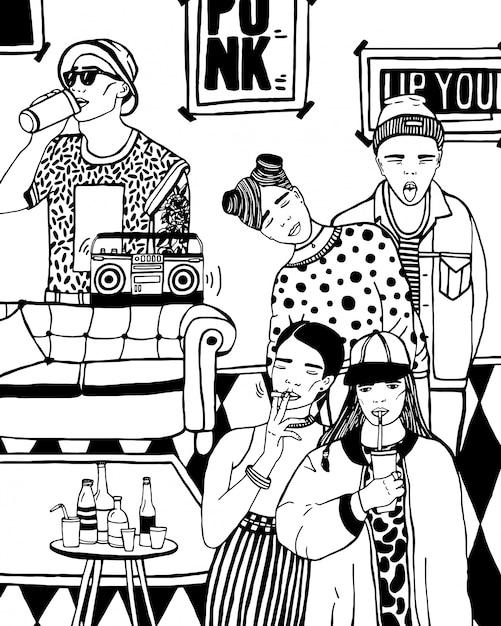 Domowa Impreza Z Tańcem, Piciem Młodych Ludzi, Muzyką. Ręcznie Rysowane Czarno-biały Ilustracja. Premium Wektorów