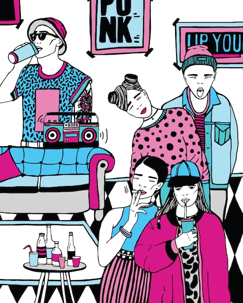 Domowa Impreza Z Tańcem, Piciem Młodych Ludzi, Muzyką. Ręcznie Rysowane Kolorowych Ilustracji. Premium Wektorów