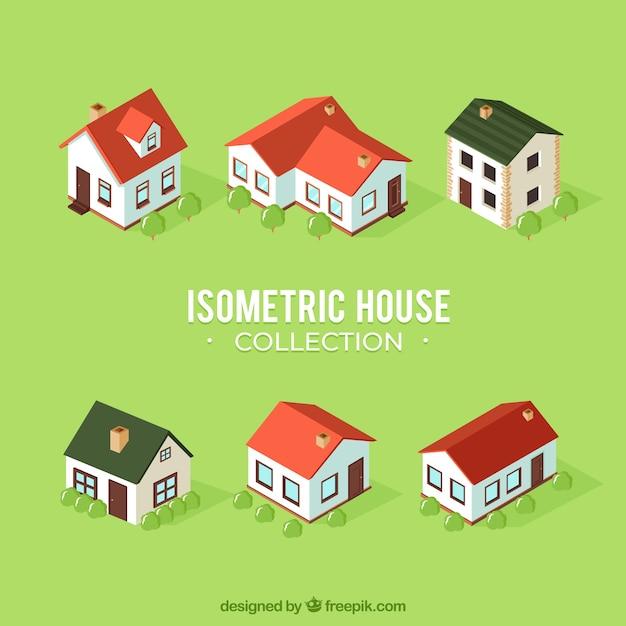 Domowa kolekcja sześciu w stylu izometrycznym Darmowych Wektorów