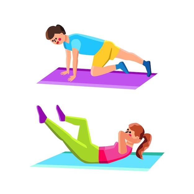 Domowe ćwiczenia Sport Robi Mężczyzna I Kobieta Premium Wektorów