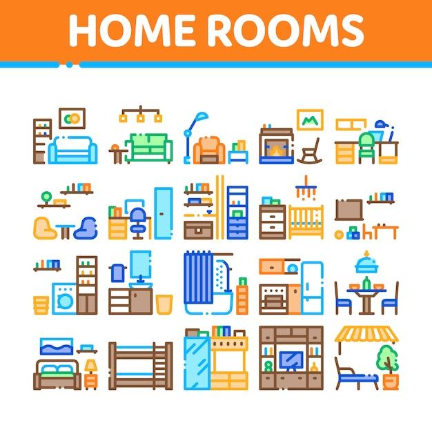 Domowe Pokoje Meble Kolekcja Zestaw Ikon Premium Wektorów