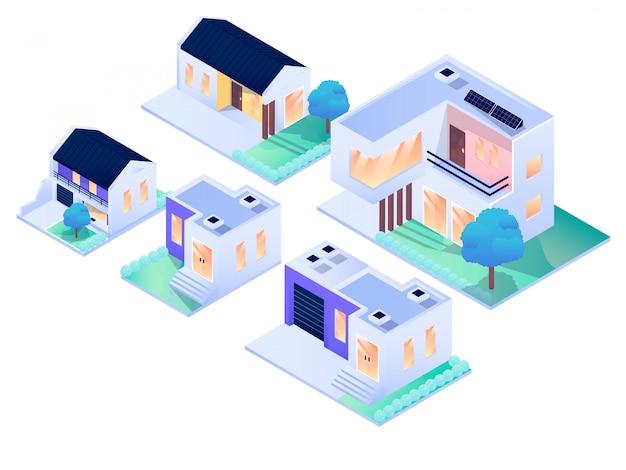 Domowej rezydencji miasta projekta wewnętrzna zewnętrzna isometric wektorowa projekt ilustracja Premium Wektorów