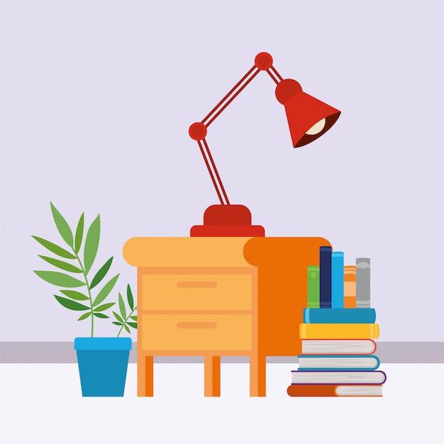 Domowy Gabinet Z Książkami Darmowych Wektorów