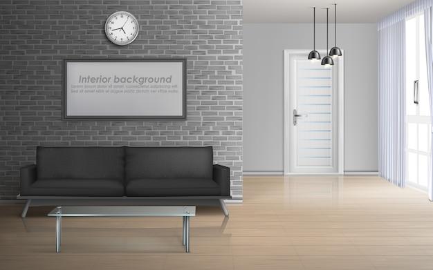 Domowy pokój dzienny, wnętrze sala apartament w minimalistycznym stylu 3d realistycznym wektorowym mockup Darmowych Wektorów