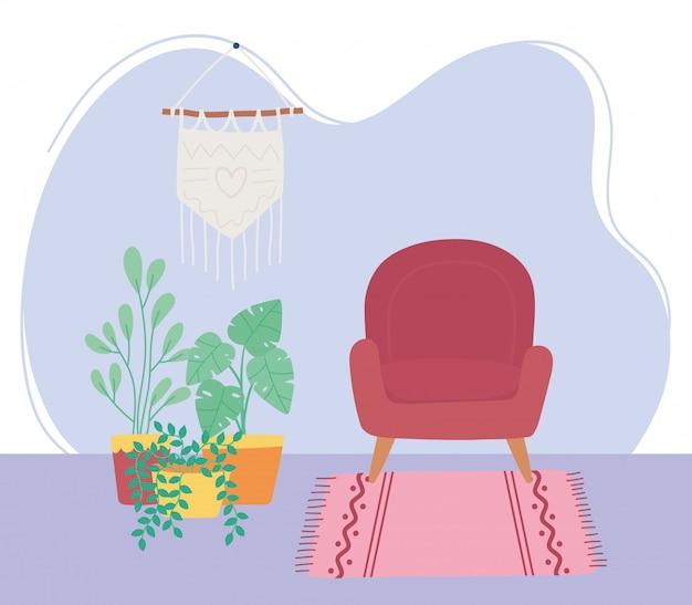 Domowy Pokój Krzesło Wisiorek ściana Rośliny Doniczkowe Dekoracja Wnętrz Premium Wektorów
