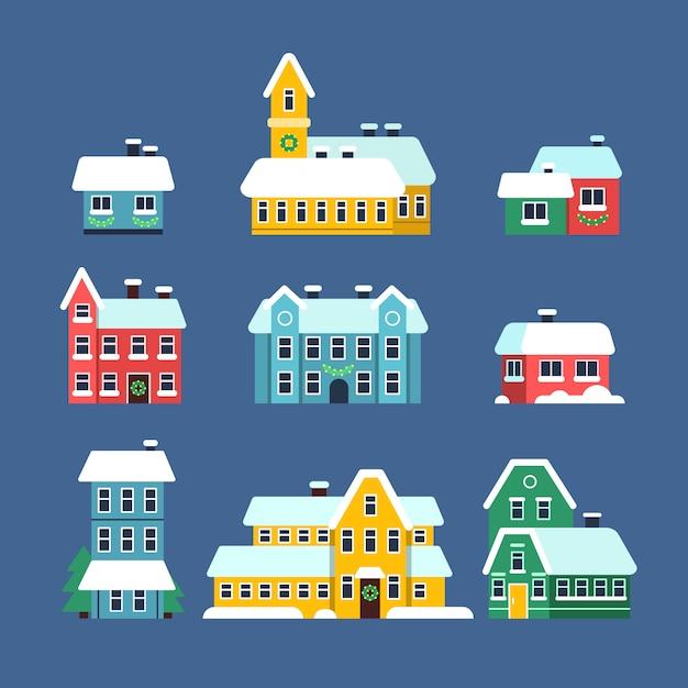 Domy Na Dachu Ze śniegiem. Zimny Sezon Miejski śnieżny Miasto śnieżyca Z Płatków śniegu Płaskie Ilustracje Premium Wektorów