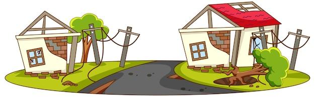 Domy Niszczą Się Od Klęski żywiołowej Darmowych Wektorów