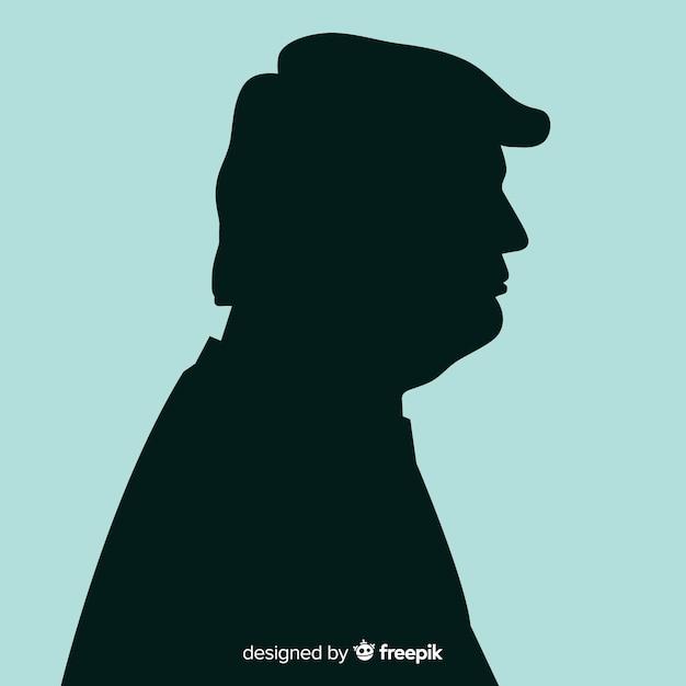 Donald trump portret w stylu sylwetka Darmowych Wektorów