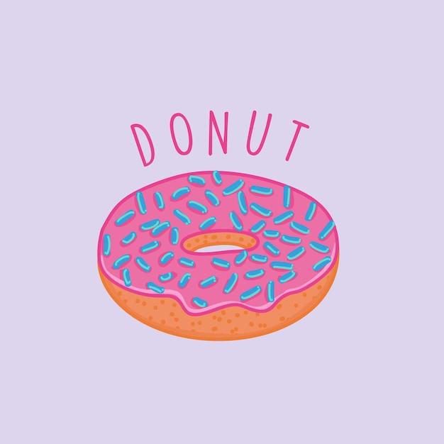 Donnut Pink Cake Dessert Premium Wektorów