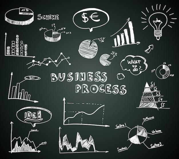 Doodle biznesowych diagramy ustawiający na blackboard Darmowych Wektorów