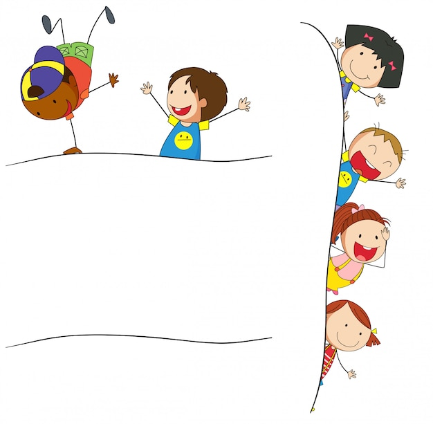 Doodle dzieci na pustym szablonu Darmowych Wektorów